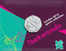 2012 50p OLYMPIC 23/29 TAEKWONDO COIN ON CARD BRILLIANTLY UNCIRCULATED @