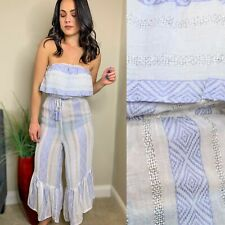 Surf Gypsy White & Blue Metallic Strapless Jumpsuit Swimwear Cover Up SIZE M