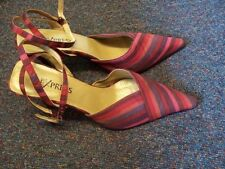 Strappy, Ankle Strap Striped Textile Heels for Women