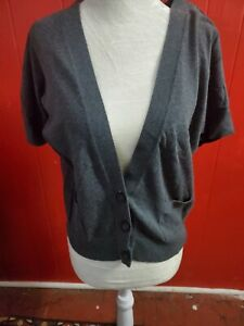 American Eagle Women's Junior XS Gray Shortsleeve Cardigan Sweater