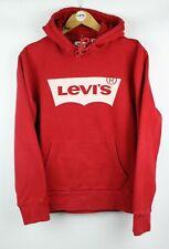 Mens LEVIS Batwing Logo Graphic Hoodie Sweatshirt Hooded Jumper Red | Small