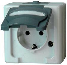 KOPP Aufputz-Feuchtraum Schutzkontakt-Steckdose 1-fach mit Klappdeckel grau