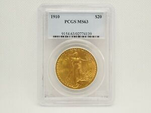 1910 $20 Twenty Dollar St Gaudens Gold Double Eagle PCGS MS 63