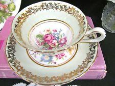 Hazel Sharon tea cup and saucer floral rose bouquet teacup England pale green