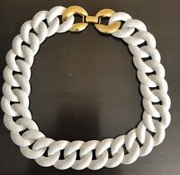 Vintage Signed Monet White Enamel Chain Link Gold Tone Choker Necklace 18""