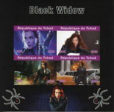 Chad Superheroes Stamps 2020 MNH Black Widow Scarlett Johansson 4v IMPF M/S
