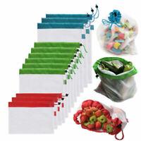 12pcs Reusable Produce Mesh Bags Rope Vegetable Fruit Toys Storage Pouch Bag US