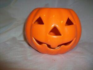 Vintage Ceramic Russ Pumpkin Jack-o-lantern Tea Light Candle Holder Halloween
