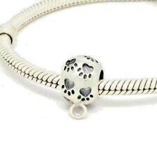 Paw Print Cat Dog Charm Bead With Charm Carrier 925 Sterling Silver
