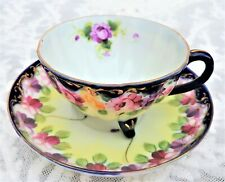 Vintage Hand Painted Teacup & Saucer JAPAN Gold Trim Floral
