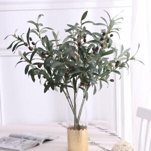 """28"""" Artificial Olive Plants Branch Leaf Living Room Fake Plants Stem Decor #A01"""
