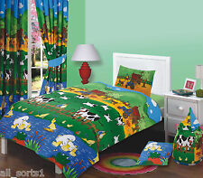 TODDLER BED DUVET COVER SET FARM YARD TRUCKS COWS DUCKS CHICKEN SHEEP KID DESIGN