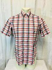 Nautica Short Sleeved Check Shirt Mens Medium Red