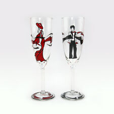 Set Of 2 Hand Painted Wedding Champagne Glasses Handmade Art Glass Gift