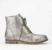 Urban Outfitters Ecote Country Metallic Ankle Boots 9 Lace Up Silver