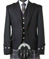 100% WOOL Scottish Argyle Kilt Jacket/Custom made Jackets-with free waistcoat R