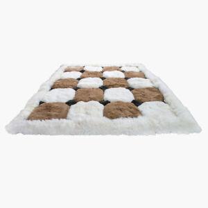 100cm x 70cm Beautiful Brown & White Alpaca Fur Rug, 'Comfort', Decor, Home