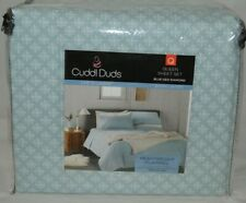Cuddl Duds Flannel Sheet Set Blue Geo Diamond- Size Queen