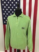 Tommy Bahama 1/4 Zip Pastel Green Relax Marlin Logo Sweatshirt men's LARGE 9406