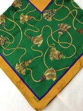 "Vtg ITALY Equestrian Tassel 30"" Square Scarf Green Purple Gold Coty Perfume 70's"