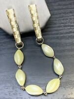 "1950's Vintage Gold Tone Sweater Cream Beaded Chain Clip Scarf 9"" Long"