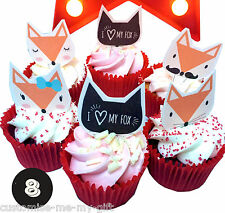 8 Love foxes Edible Cupcake Toppers | Valentine Wedding  | Cake decorations