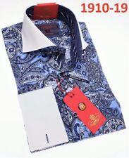 S L XL Mens Leonardi 397 Light Blue Paisley High Collar Cuffed Shirt size
