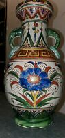 JAPANESE PORCELAIN HAND PAINTED URN VASE ELEPHANT HANDLES MADE IN JAPAN IN GOLD