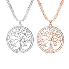 Damen Halskette mit Lebensbaum Kristall Anhänger SWAROVSKI Elements vergoldet