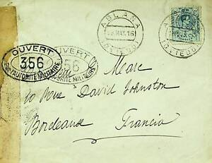 SPAIN 1916 1v ON WWI MILITARY CENSOR PASSED COVER TO FRANCE