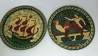1960's Enamel on brass Greek Pair of Wall Hangings MCM Retro Hermes Semeah Ship