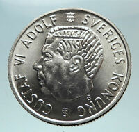 1952 SWEDEN King GUSTAV VI ADOLF 2 Kronor LARGE Silver SWEDISH Coin i80970
