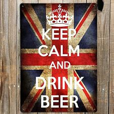 KEEP CALM AND DRINK BEER Print On Metal Sign Plaque Retro Vintage British Flag