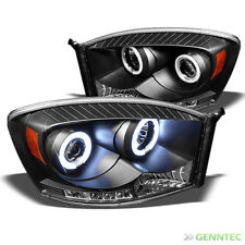 For 06-08 Dodge Ram Twin Halo LED Pro Headlights Blk Head Lights Lamp Pair