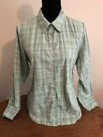 Denim and Co Size Large Long Sleeve Plaid Button Front Shirt Mint Green A08653