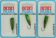 (3) Rebel Lures MicroCritters Micro Pop-R Baits Bullfrog P40513