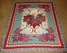 Noël Fleur Poinsettia tapisserie Afghan Jeté de lit