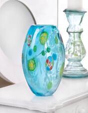 BLUE FLORAL MODERN ART GLASS VASE CENTERPIECE DECOR ~10017380