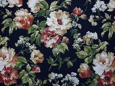 Richloom Floral Bouquet MIDNIGHT Blue Cotton Home Decor Drapery Sewing Fabric