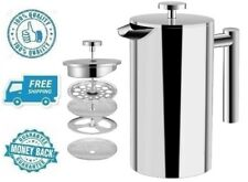 New French Press Coffee Maker Stainless Steel Double Walled Hot Drink Brewer