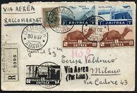 927 - Colonie, Eritrea - 5 colori e annullo Debarek su raccomandata, 30/08/1937