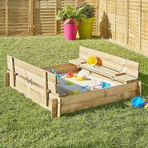 Wood Sandpit Box, Twin Bench Seat & Lid Children Kid Garden Patio Sand Play Toy