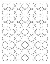 5 SHEETS 1 INCH ROUND BLANK WHITE STICKERS LABELS CUSTOM - 315 TOTAL LABELS