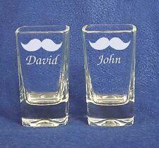 Mustache Groomsman Wedding Shot Glasses  personalized engraved