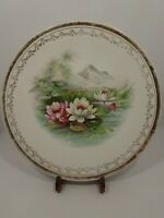 """Pope Gosser China Rare/Vintage Hand Painted Plate 9 1/4"""" Water Lilies Gold Trim"""