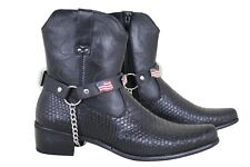 Men USA Flag Metal Silver Chains Fashion Western Shoe Boots Black Strap America