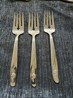 Oneida Stainless Salad Fork, Rose Pattern, Flatware, Vintage