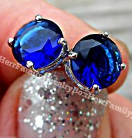 2CT Genuine .925 Sterling Silver Round Blue Sapphire Stones Studs post Earrings
