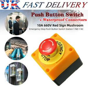 Red Mushroom Emergency Stop Push Button Switch NO / NC Waterproof 660V 10A UK