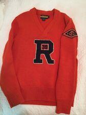 Ralph Lauren Rugby Store Varsity Orange Sweater  Chenille R 39 Patch Medium RRL